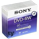 Sony DVD-RW 8cm 2.8Go 60min Pack 5 DVD mini disque pour cam?scope