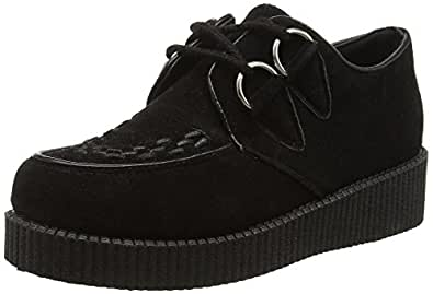 Ajvani Women's Flat Platform Wedge Lace Up Punk Creepers Shoes Boots Size 2 35