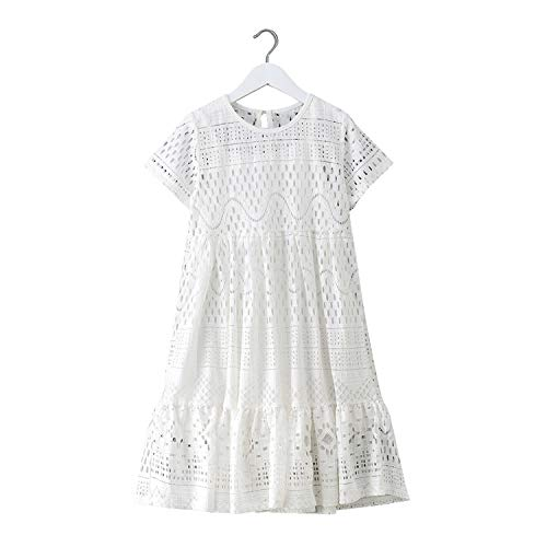 8-16 Yrs Teenage Girls Summer White Lace Long Dress Elegant Princess Gown New Party Clothes Kids Dresses for Big Girls,White,16 ()