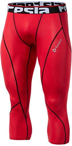 Tesla TM-P15-RDKZ_Medium Mens Compression Capri Shorts Baselayer Cool Dry Sports Tights P15