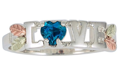 London Blue Topaz 'Love' Heart Ring, Sterling Silver, 12k Green and Rose Gold Black Hills Gold Motif, Size 9 by The Men's Jewelry Store (for HER)