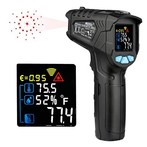 Tzp5ChB Infrared Thermometer, Adjustable Emissivity Non-Contact Digital Temperature Meter - Black - King Thermo Thermometer