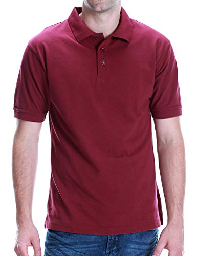 ALL Polo Men's Short Sleeve 3 Button Plain Polo Shirts for Men, Size 3X Large, Burgundy (Chest28)