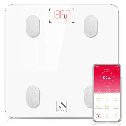 FITINDEX Bluetooth Body Fat Scale, Smart Wireless BMI Bathroom Weight Scale Body Composition Monitor Health Analyzer with Smartphone App for Body Weight, Fat, Water, BMI, BMR, Muscle Mass - White (Bath Scales Digital Body Fat)