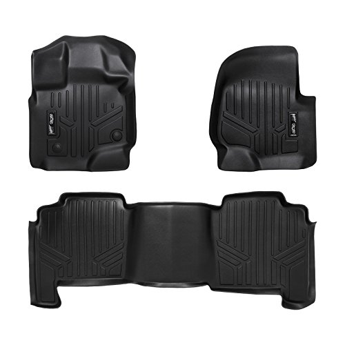 SMARTLINER Floor Mats 2 Row Liner Set Black for 2004-2008 Ford F-150 SuperCrew Cab / 2006-2008 Lincoln Mark LT Crew Cab