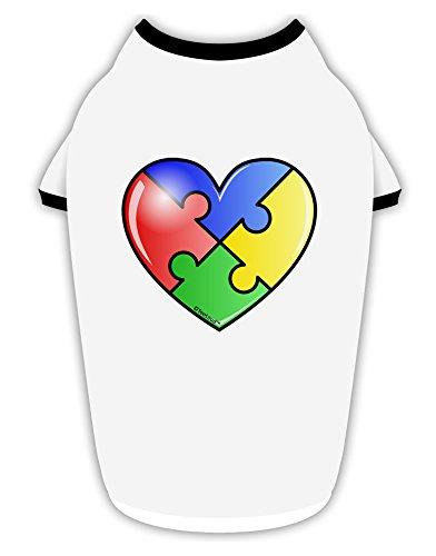 - TooLoud Big Puzzle Heart - Autism Awareness Cotton Dog Shirt White with Black Medium