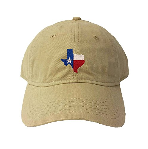 Go All Out Adjustable Khaki Adult Texas Flag Embroidered Deluxe Dad Hat