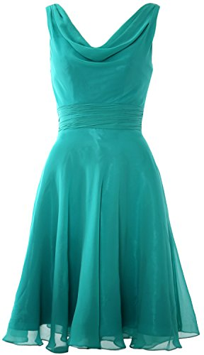 Party Dress Elegant Cocktail Short MACloth Cowl Turquoise Gown Wedding Bridesmaid Neck q4HwZx0