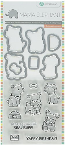 Hampton Art SC0785 Mama Elephant Stamp and Die Set 4''X8''-Puppy Play, None by Hampton Art