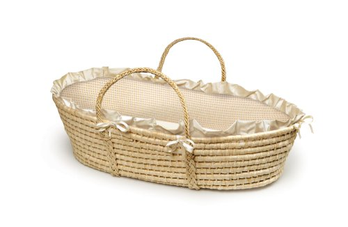Badger Basket Natural Baby Moses Basket - Ecru/Beige Gingham Bedding (Baby Bassinet Basket)