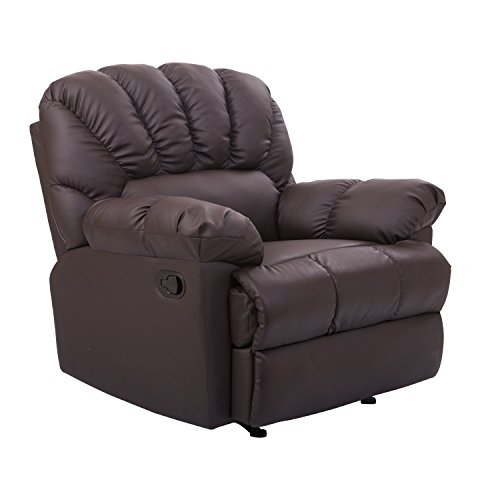 HomCom PU Leather Rocking Sofa Chair Recliner - Brown