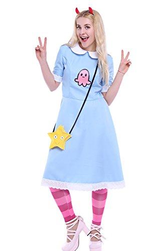 Nuoqi Women's Sweet Lolita Costume Blue Doll Collar Star Butterfly Dress Large (Evil Doll Costume)