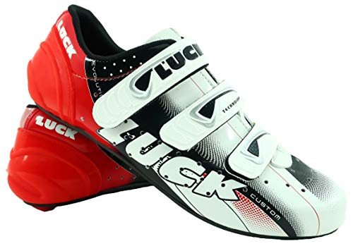 LUCK Zapatillas de Ciclismo EVO Rojo, para Carretera, con Suela de Carbono,Muy rigida y Ligera y Triple Tira de Velcro.: Amazon.es: Deportes y aire libre