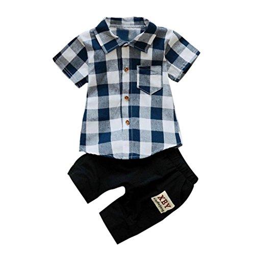 FEITONG Toddler Kids Baby Boy Plaid Short Sleeved T-Shirt Tops+Shorts Pants 2Pcs Outfits Clothes Set