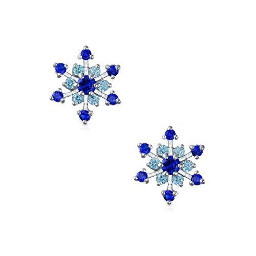 Blue CZ Winter Snowflake Clip On Earrings Rhodium Plated (Earrings Winter Snowflake)