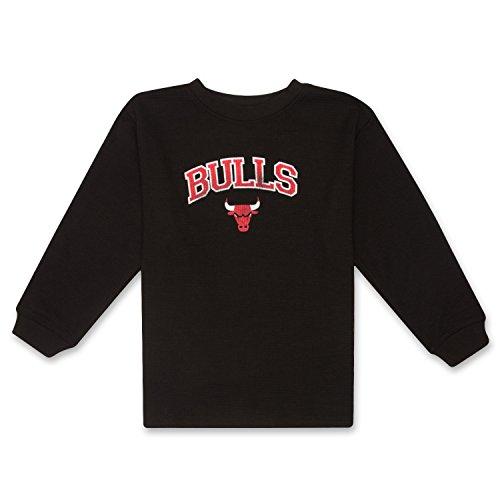 fan products of NBA Boys Long Sleeve Crewneck Sports Team Athletic Thermal Sweatshirt Chicago Bulls Black 5/6