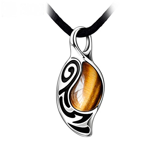 RUINUO Men's Brief Vintage Style 'The Faith' Tiger's eyes Stone Pendant Necklace (Tiger's eye Stone)