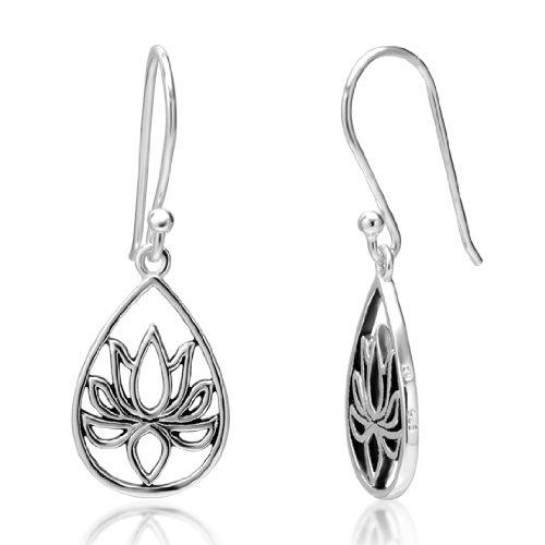 925 Sterling Silver Lotus Flower Blossom Teardrop Dangle Hook Earrings
