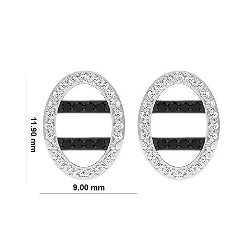 Libertini Boucle d'oreille argent 925 plaque or Jaune serti de Diamant en forme de Ovale