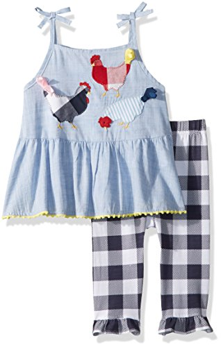 Set Capri Smocked - Mud Pie Baby Girls Farm Chambray Sleeveless Tunic & Capri 2 Pc Playwear Set, Blue, 5T