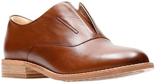 CLARKS Womens Edenvale Opal Oxford, Dark Tan Leather, Size 9 (Womens Oxford Tan)