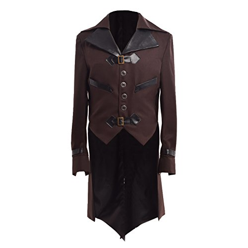 BLESSUME Mens Gothic Tailcoat Victorian Steampunk VTG Coat Jacket Halloween Costume