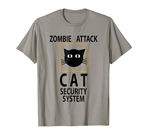 Zombie Attack Funny Cat Halloween T-Shirt Humor]()