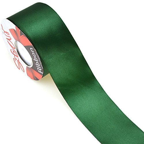 - Star Quality 2 Inch Wide Satin Ribbon by 25 Yard Spool| Polyester Ribbon for Floral Arrangement, Wedding Bouquet, and Big DIY Artwork Projects | No Fading Woven Ribbon (2 Inch Width, Christmas Green)