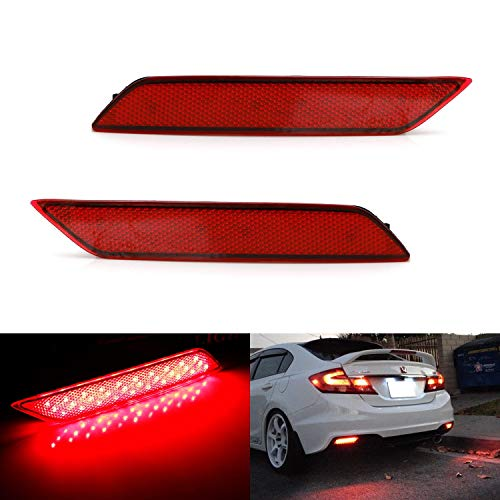 iJDMTOY Red Lens 60-SMD LED Bumper Reflector Lights For 13-15 Honda Civic Sedan, Function as Tail, Brake & Rear Fog Lamps ()