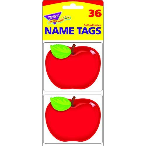 TREND ENTERPRISES INC. SHINY RED APPLE NAME TAGS (Set of 12)