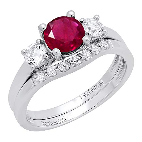 Dazzlingrock Collection 10K 6 MM Lab Created Ruby, White Sapphire & Diamond Ladies Ring Set, White Gold, Size 6 (Gold Lab Created Ruby 10k)