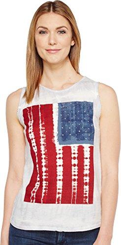 Lucky Brand Women's Tie Dye Flag Tank Top, Grey/Multi, Large