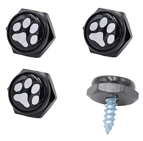 Cutequeen Black License Plate Frame Bolts Screws Metal with Black Paw(Pack of 4)