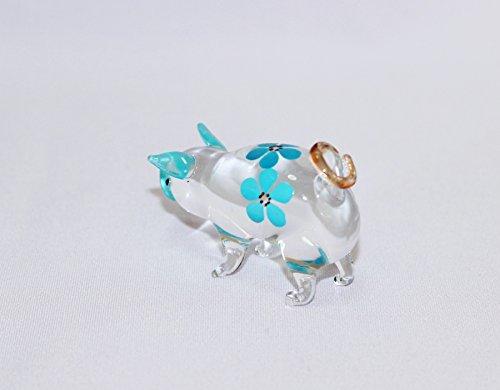 Dollhouse Miniatures Hand Blown Art Blue Cute Pig Flower FIGURINE Animals Decor