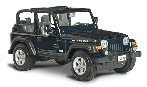 Car Metallic Blue Diecast (Maisto Jeep Wrangler Rubicon Diecast Vehicle (1:27 Scale), Metallic Blue)