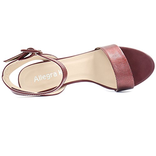 Allegra K Women's High Heel Ankle Strap Sandals Wine H20UYPR