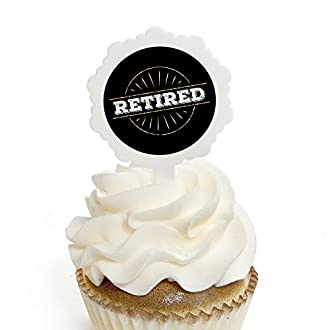 Happy Retirement - Cupcake Picks with Stickers - Retirement Party Cupcake Toppers - 12 Count