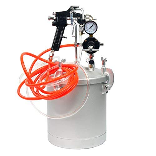 2 1/2 Gallon 10L High Pressure Pot Air Paint Spray Gun, Pressure Tank with Spray Gun and 13-Feet Dual Hose Industrial Painting Painter