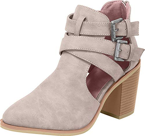 Arider Women's Ankle Bootie with Low Heel Closed Toe Side Buckle Back Zipper - Mauve 7.5