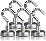 Strong Heavy Duty Magnetic Hooks (5 Pack) - Powerful 40lb Neodymium Rare Earth Hook Magnet Set for Multi-Purpose Hanging, Storage, Indoor/Outdoor Organization - Includes 3M Felt Non-Scratch Stickers