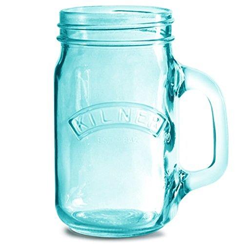 Kilner Blue Drinking Jar with Handle, 13.5-Fl Oz