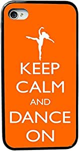 Rikki KnightTM Keep Calm and Dance On - Orange Color Design iPhone 5 & 5s Case Cover (Black Rubber with bumper protection) for Apple iPhone 5 & 5s