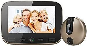 "Surveillance Recorder 4.3"" LCD Digital Door Viewer Doorbell Security Camera Electronic Cat Eye Camera Photo Monitor Home Wireless Video Doorbell Gold"