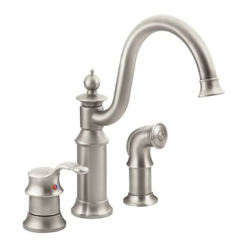 Waterhill One Handle - Moen S711SRS Waterhill One-Handle High Arc Kitchen Faucet, Spot Resist Stainless