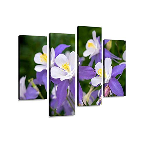 (Blooming Blue Columbine WildflowerCanvas Wall Art Hanging Paintings Modern Artwork Abstract Picture Prints Home Decoration Gift Unique Designed Framed 4 Panel)