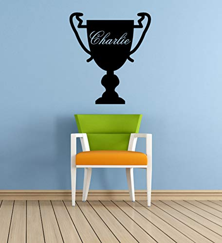 Personalized name, Trophy, Vinyl Wall Art Sticker, Mural, Decal. Children's Bedroom, Playroom, Sports, Champion]()