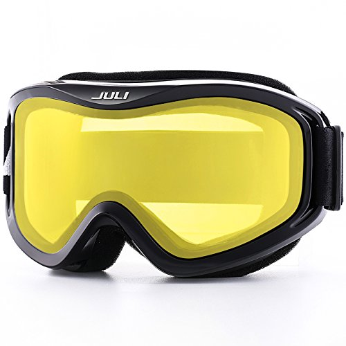 JULI OTG Ski Goggles-Over Glasses Ski/Snowboard Goggles for Men, Women & Youth - 100% UV Protection Anti-fog Dual Lens(Black Frame+57% VLT Lemon Yellow Len)