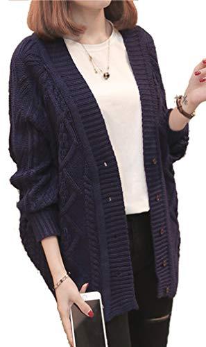 (アイユウガ)I-YUUGAレディース アウター カーディガン ゆったりジャケット ニット セーター ゆったりケーブルニットざっくり ボタン 大きいサイズ カジュアル