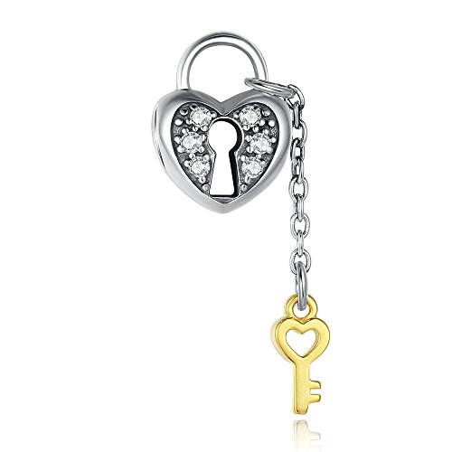 Glamulet Art - Heart Lock and Key Gold and Silver Dangle Dangle Charm - 925 Sterling Silver 925 Sterling Silver Key Ring
