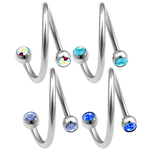 4pcs 16g 12mm Twisted Barbell Rim Tragus Helix Lip Cartilage Hoop Crystal Pinna Eyebrow Ear lobe Barbell BQAZ - AB LSP SP AQ -